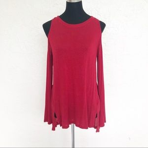 EVEREVE Sanctuary Red Cold Shoulder Tunic Top S